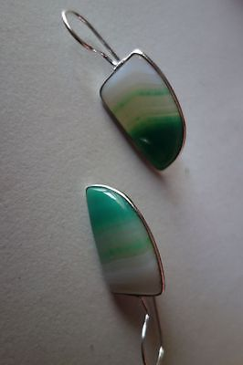 28.15CTS NATURAL CHALCEDONY GREEN & WHITE SILVER PLATED READY TO WEAR EARRINGS#A