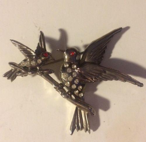 Vintage Double Bird Pin Rhinestone Silvertone