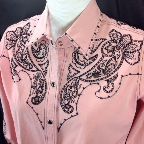 Basil & Maude Pink Snapfront Western Shirt Black Beaded Paisley Detail S