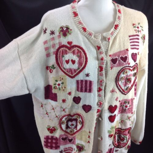 Valentine Hearts Cardigan Embroidered Wood Buttons Heirloom Collection 2001 XL
