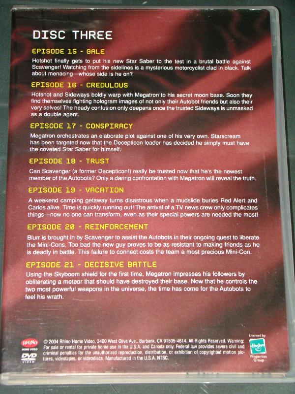 (DVD) Anime- TRANSFORMERS ARMADA - SEASON ONE - PART ONE (DISC 3 EPISODES 15-21)