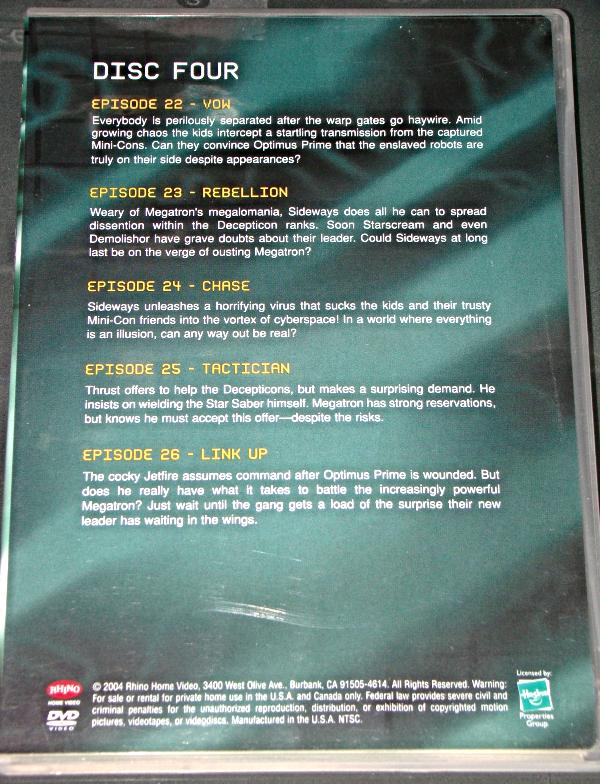 (DVD) Anime- TRANSFORMERS ARMADA - SEASON ONE - PART ONE (DISC 4 EPISODES 22-26)