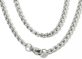 "White Gold Plated Stainless Steel Round Pearl Box Chain Necklace 30"" - £6.64 GBP"