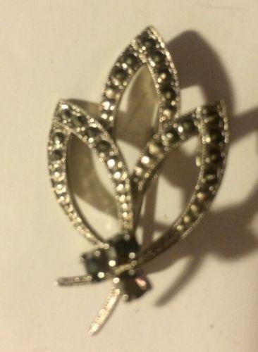 Vintage West Germany Marcasite Pin Silvertone Leaf Brooch