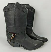 Womens Zodiac Black Leather Western Cowboy Boots 8M - $54.45