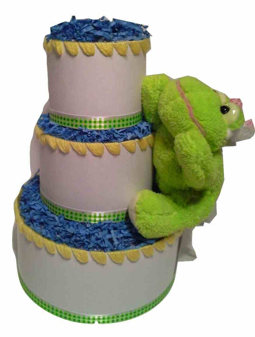 Yellow and Green Springtime Themed Baby Shower 3 Tier Froggy Diaper Cake Gift