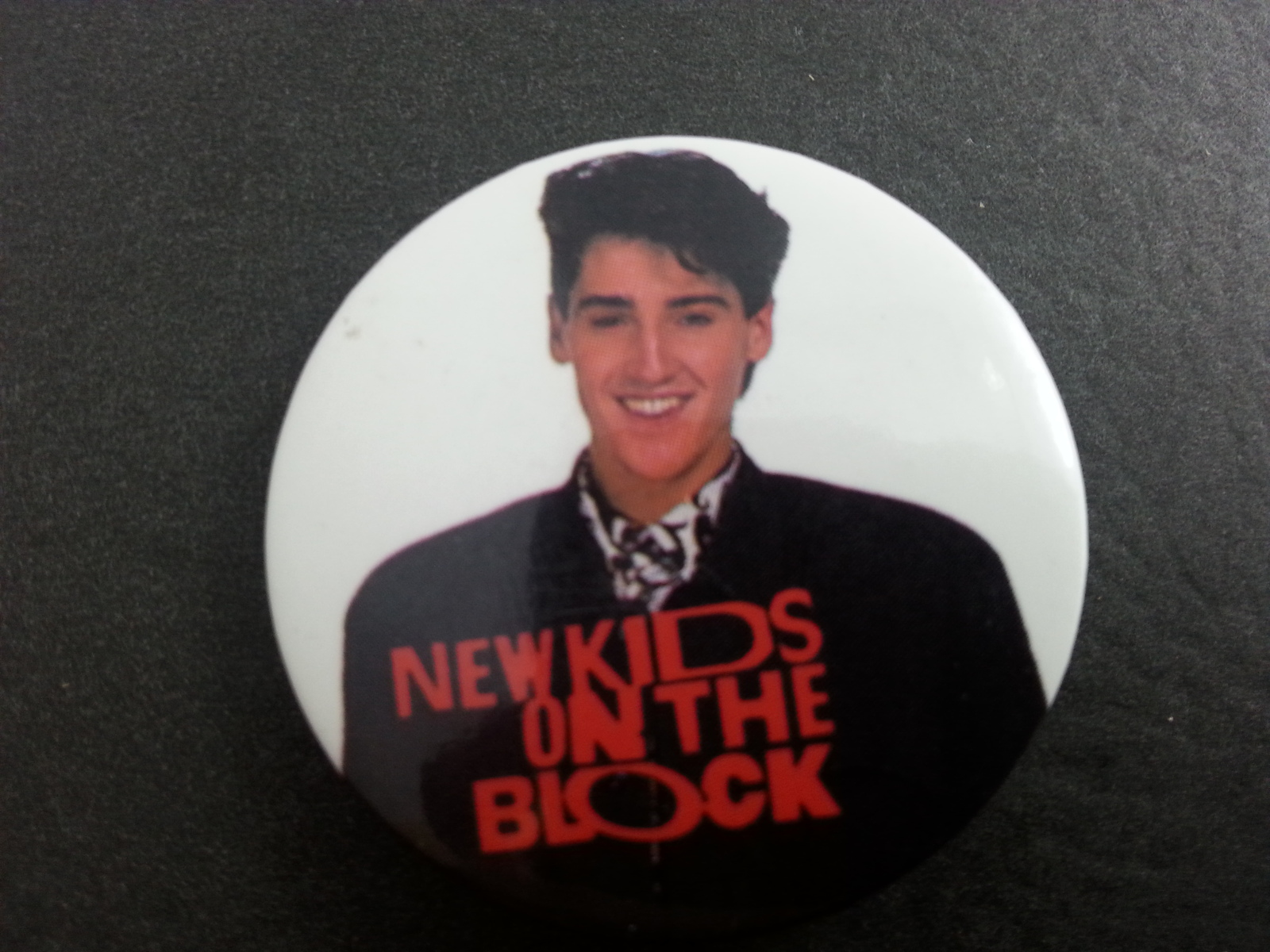 Retro New Kids on the Block Button -  Jonathan is Casual Preppy Suit !!