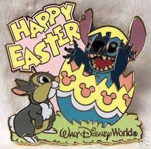 Disney WDW HAPPY EASTER STITCH THUMPER BUNNY EGG MICKEY ICONS pin new on card