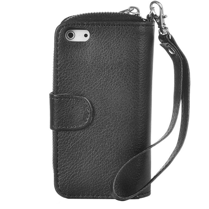 iPhone 5 and 5S Zipper Coin money Wallet Leather Case with Lanyard