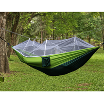 300kg Portable Double Camping Hammock Parachute Fabric With Mosquito Net - $27.57+