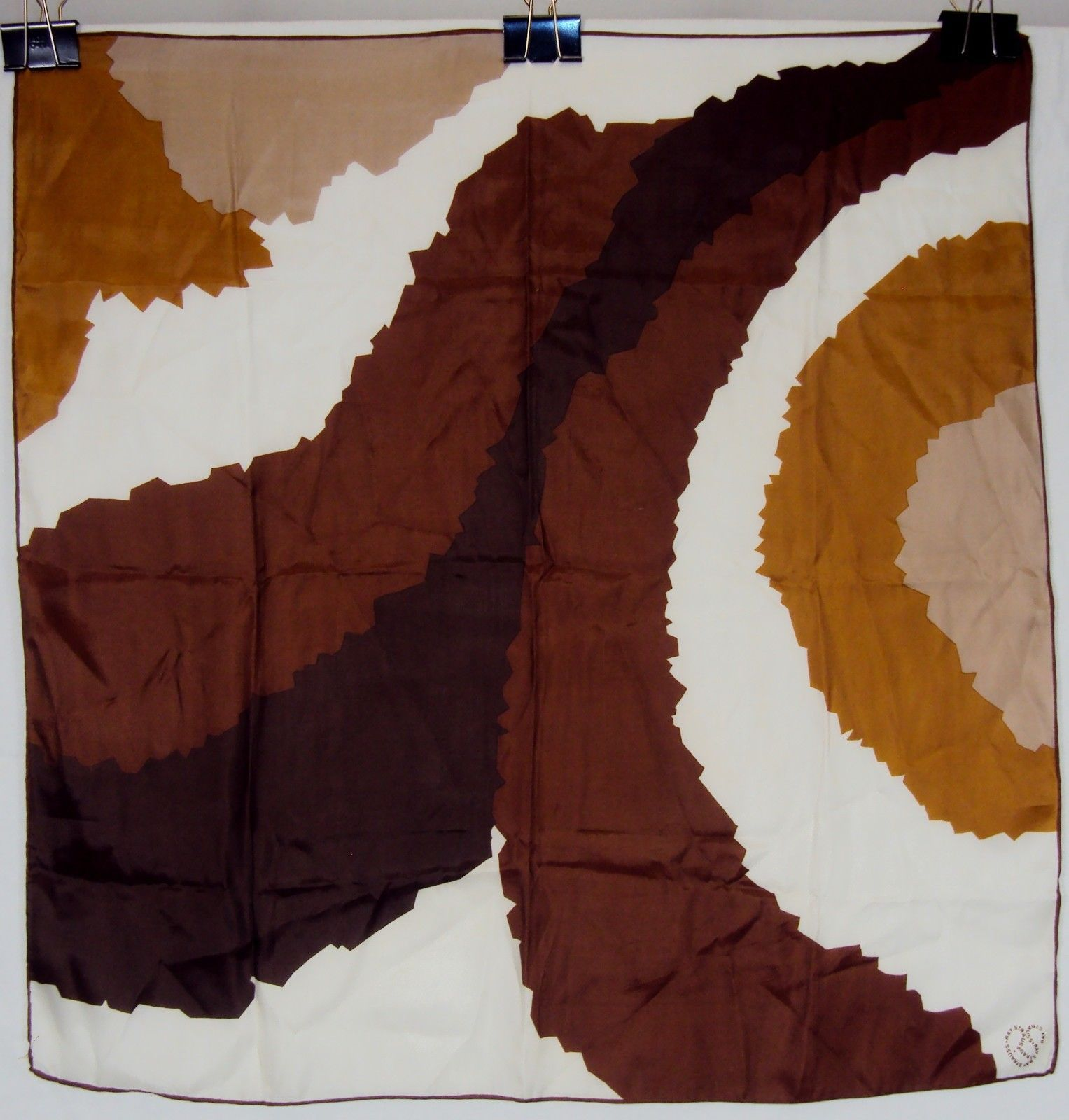 Vintage Ray Strauss Silk Scarf ~ Abstract Brown/Gold Curves &Circles ~ #6110050