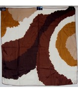 Vintage Ray Strauss Silk Scarf ~ Abstract Brown/Gold Curves &Circles ~ #... - $19.55
