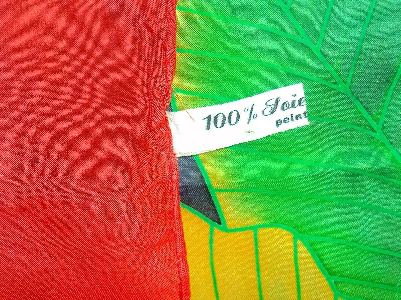 "Silk Scarf ~ Red Border w/Flowers & Leaves ~ Paty Creations ""Bora Bora"" #6110010"