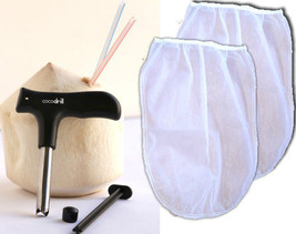 USA CocoDrill Coconut Opening Opener Tool + 2 Nut Milk Strainer Bags Coc... - $9.74