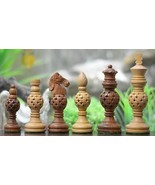 """Spherical Jali Wooden Chess Pieces in Sheesham/Box Wood - 4.40""""King - SK... - $113.99"""