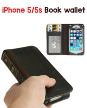 iPhone 5/5S Leather Horizontal Flip BOOK style Credit Card Slots wallet case - $16.99