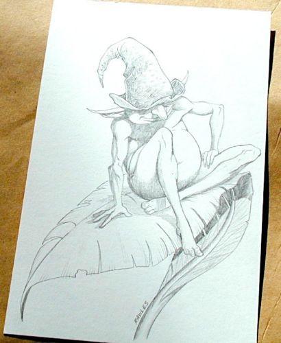 Wizards of the Coast Original ART #10 Male Fairy on Leaf :artist FRED RAWLES