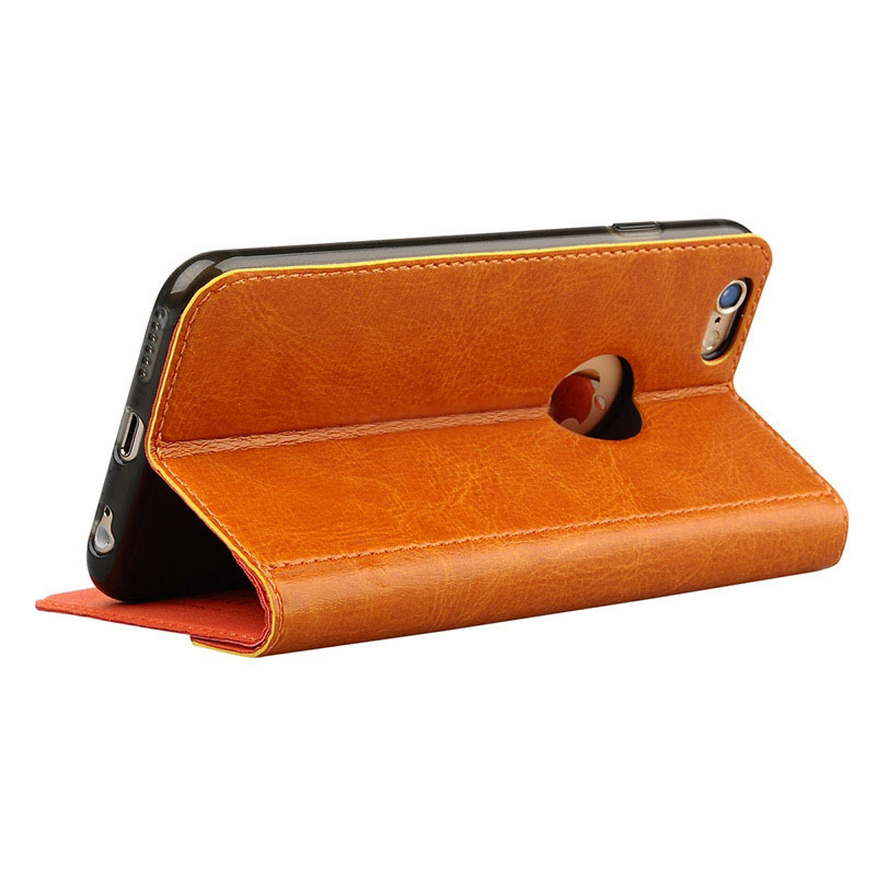 iPhone 6 PLUS Patern Genuine Leather Protective Case with Holder and Card Slot