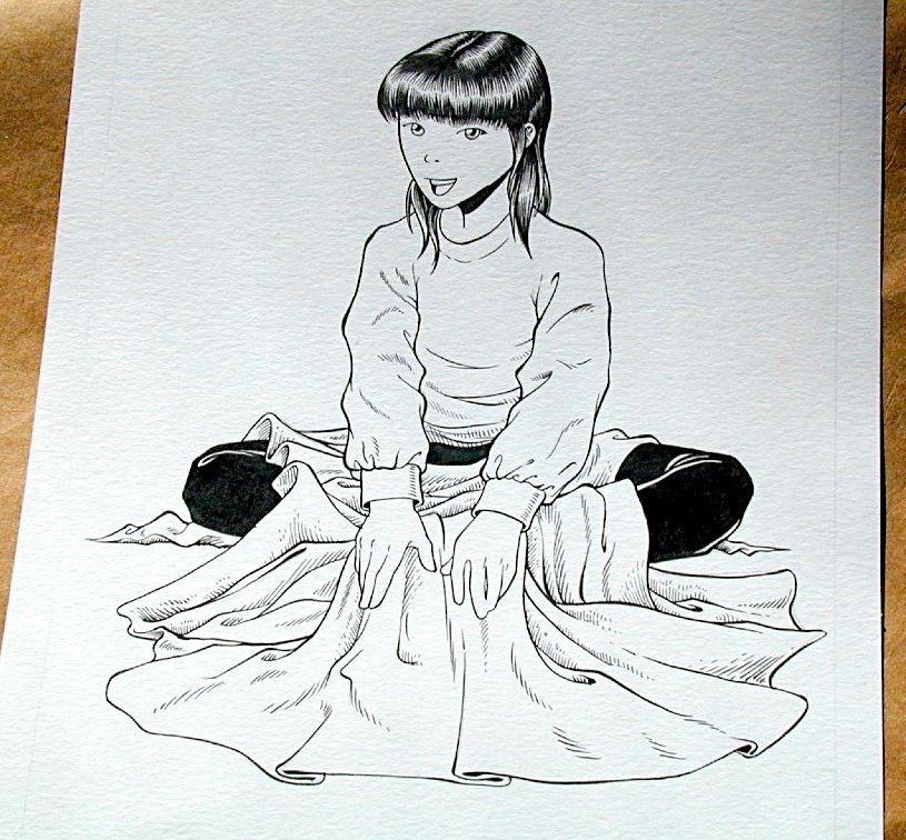 Steve Jackson Games Original RPG ART #23 Asian Girl :artist FRED RAWLES