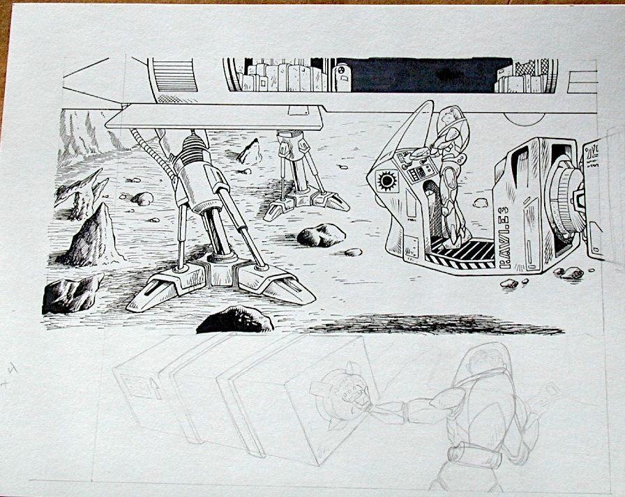 Steve Jackson Games Original RPG ART #20 Alien Loader :artist FRED RAWLES