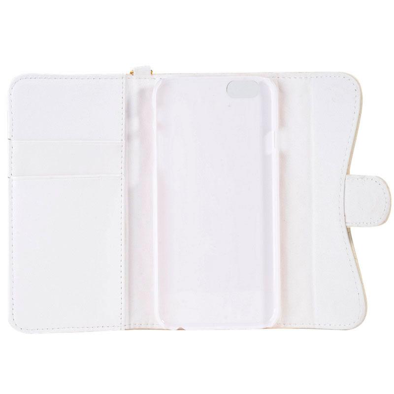 iPhone 6 Women Plaid Texture Sheepskin Diamond Bowknot Button Flip Leather Case