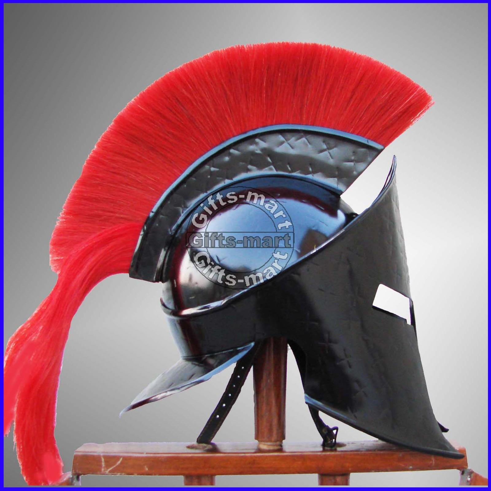 MEDIEVAL KING LEONIDAS SPARTAN HELMET ROMAN BLACK 300 MOVIE HELMET W/ RED PLUM
