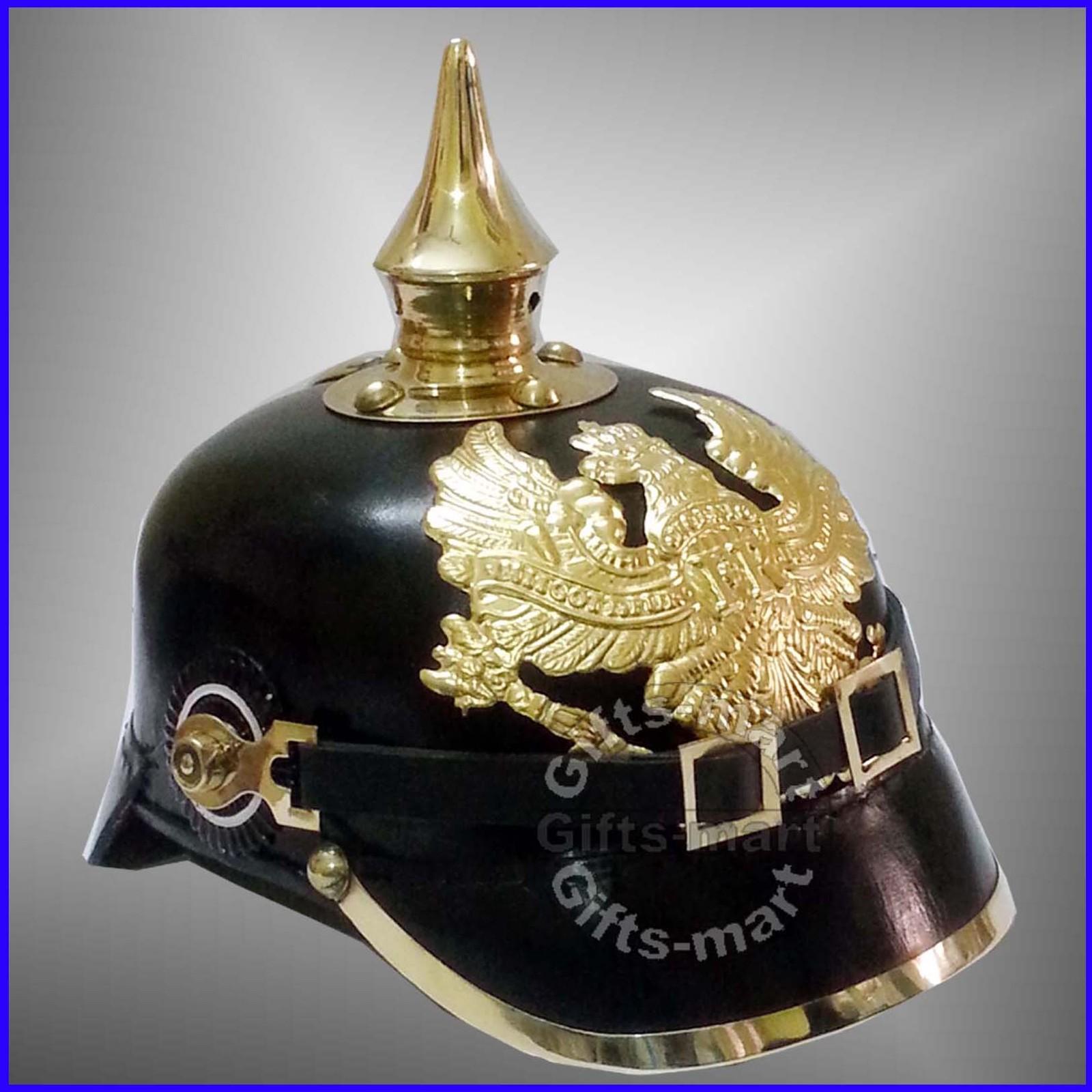 Prussian Leather Helmet - German Officer Pickelhaube Helmet