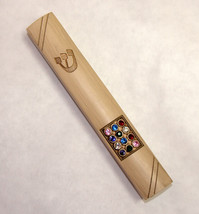 Judaica Mezuzah Case Stone Like Polyresin Hoshen Plate SHIN Decorated 12 cm