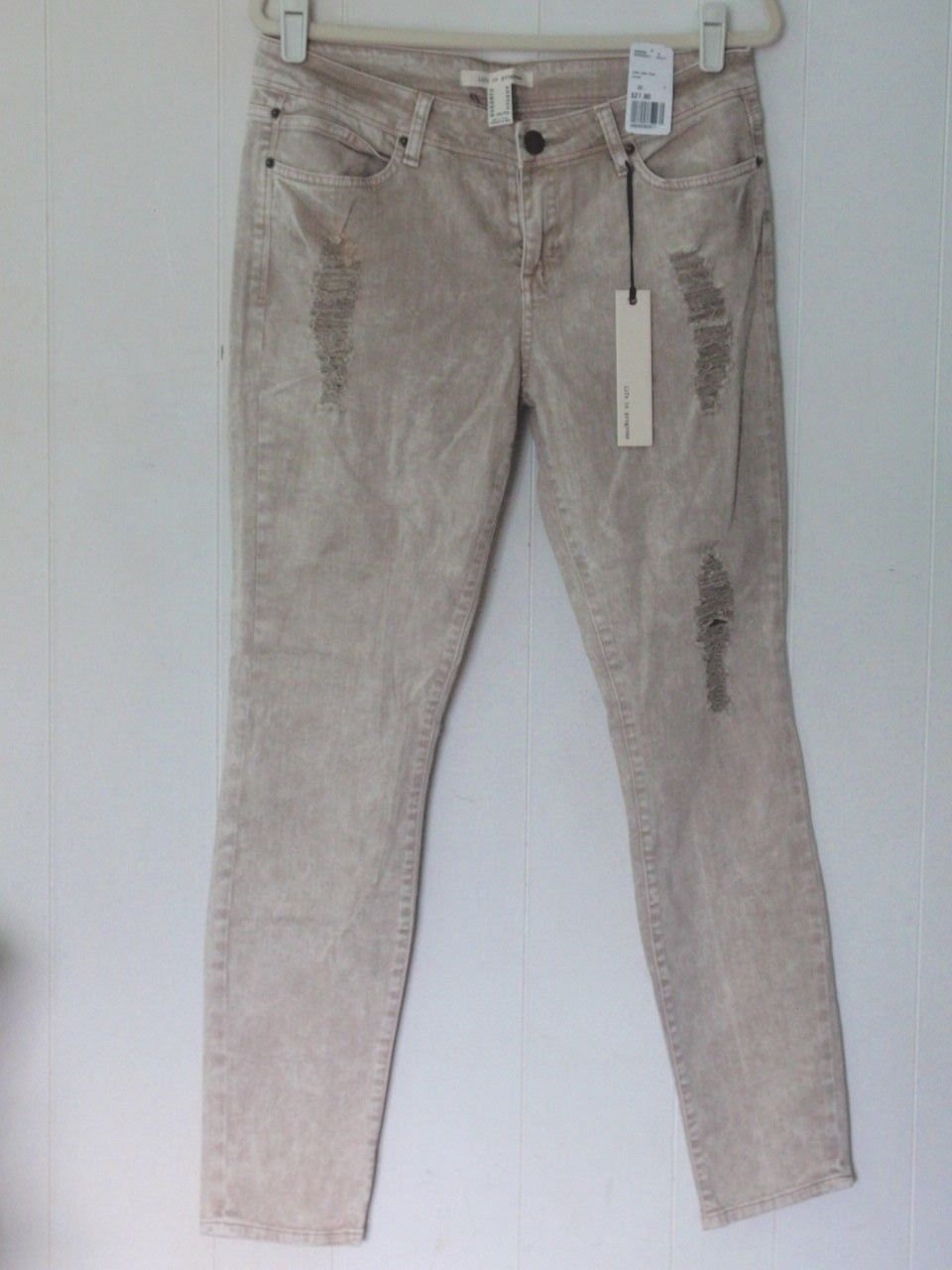 NEW FOREVER 21 COTTON KHAKI STONEWASHED DISTRESSED LOW RISE SKINNY JEANS 10 30