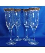 Set of 4  Cristalleria Fratelli Fumo Crystal Champagne Flutes 24k Greek ... - $35.00