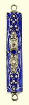 Purple Enamel Judaica Mezuzah Case Clear Crystals Hammered SHIN Decorations 7cm  image 2