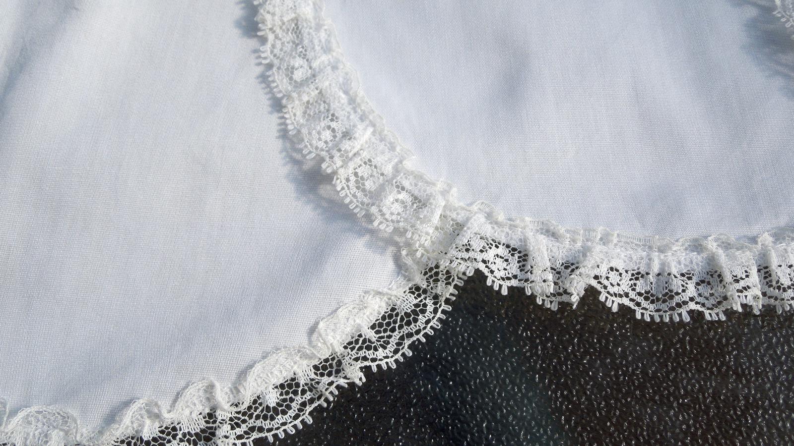 Set of 5 White Cotton Vintage Doilies with White Lace Trim #5069
