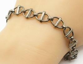 MEXICO 925 Silver - Vintage Minimalist Anchor Link Chain Bracelet - B4817 - $33.19