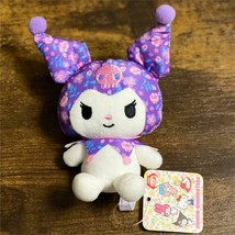 Sanrio Kuromi Girl's Flower Pattern Mascot Plush Doll 8cm Mini 2021  - $44.64