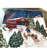 """17"""" Square Winter Tapestry Pillow Sham - Boy and Girl with Dog and Sled ... - $10.99"""