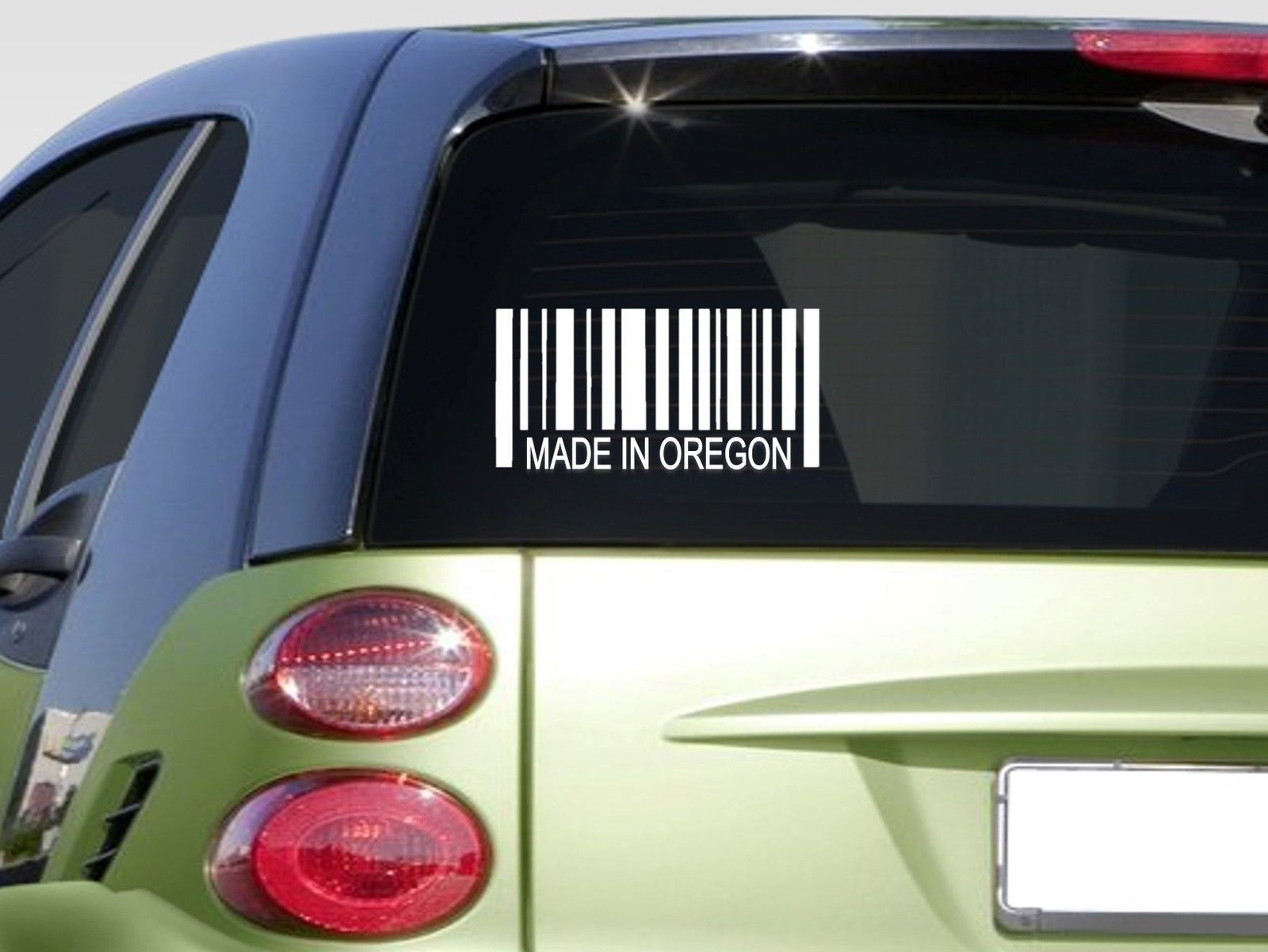 "Made in Oregon barcode 6"" sticker *E830* decal jdm map state america vinyl"