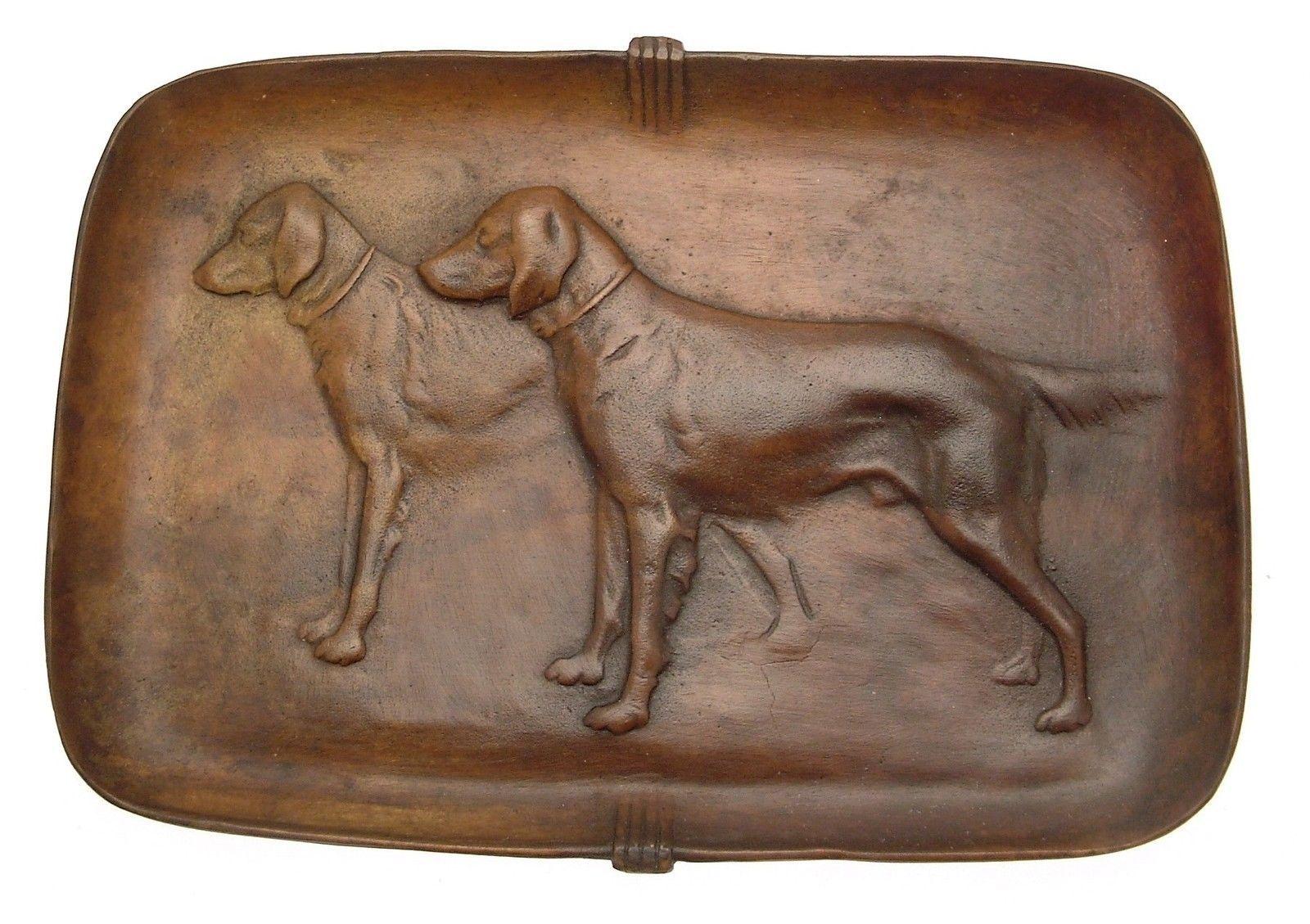 Hand cast bronze hound or Retriever dog pin tray
