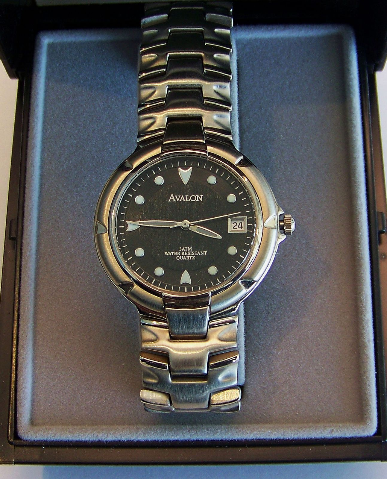 Avalon Quartz Sport Wristwatch in Steel with Black Dial And Date
