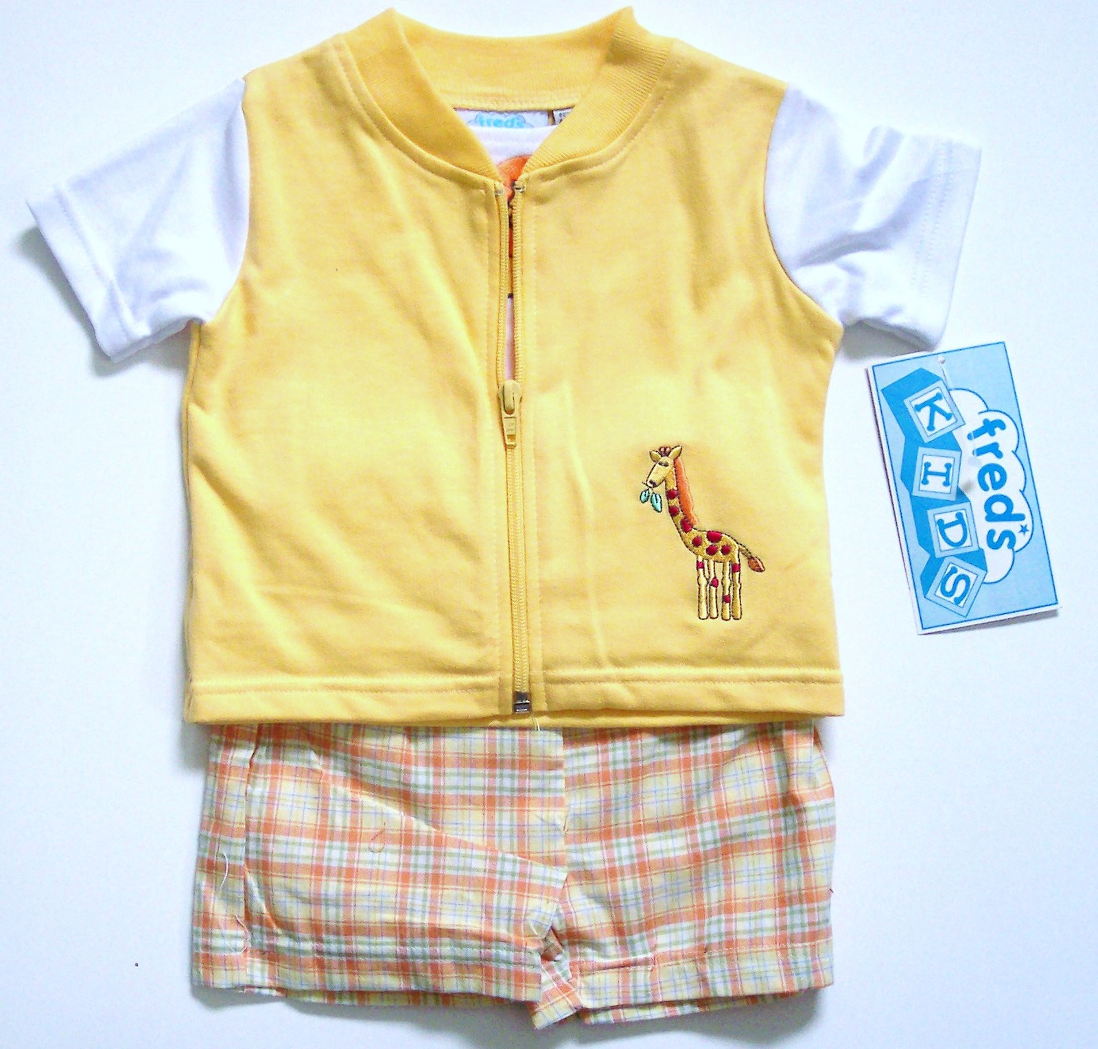 Embroidered vest and short set (2 PC), Yellow, 12 M