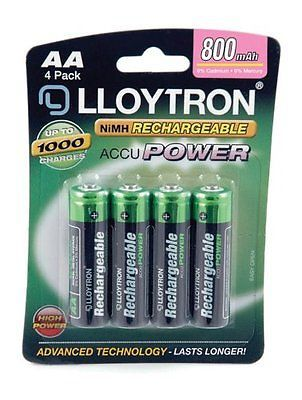 Rechargeable Lloytron 4 Pack AA AccuPower NIMH Batteries B011 800mAh