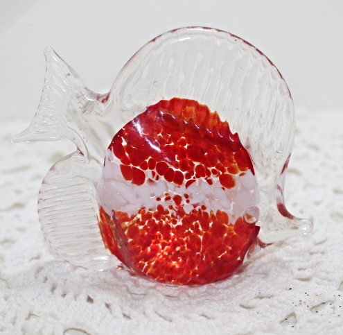 Vintage Art Glass Red & White Encased In Clear Glass Fish Figurine