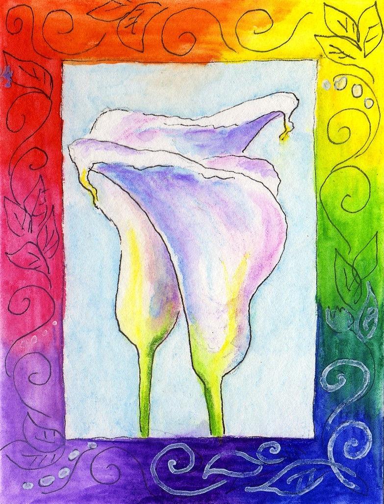 """Akimova: CALLA LILY, garden, flower, white, ACEO, 3.5""""x2.5"""", watercolor"""