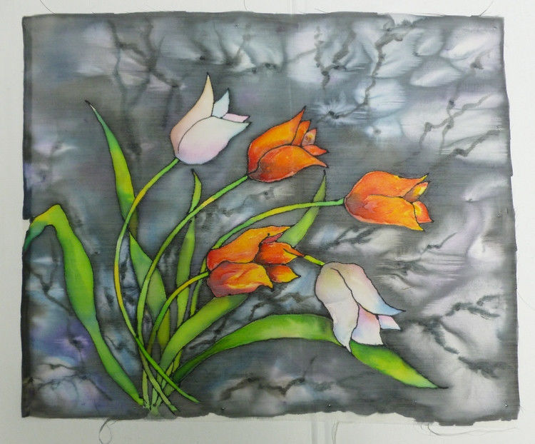 Akimova: TULIPS, fabric painting, washable, art on the wall or on the sofa