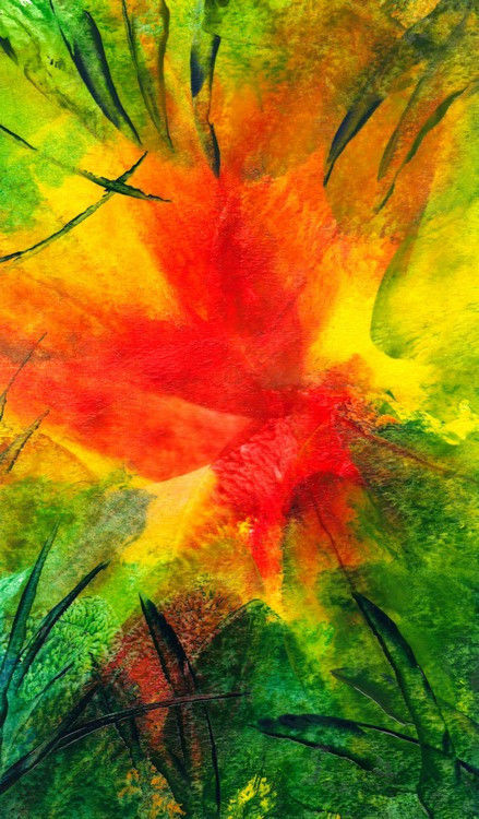 """Akimova: SUMMER, abstract, red, wax painting, approx. 6.5""""x11"""""""