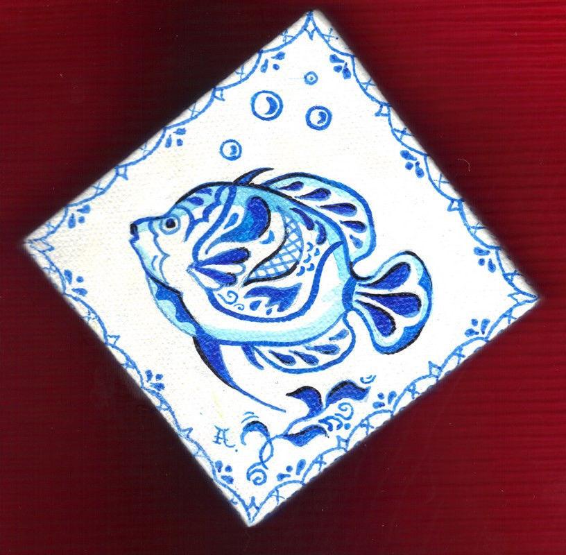 "Akimova:  FISH  , almost ACEO, blue, cartoon, fantasy, 3""x3"""