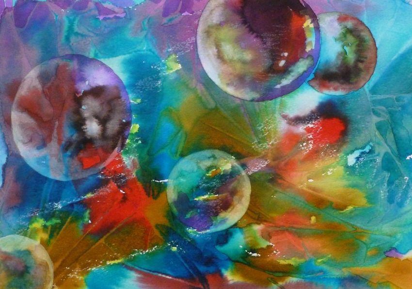 "Akimova: UNIVERSE, abstract, watercolor, planets, approx. size 14""x11"""