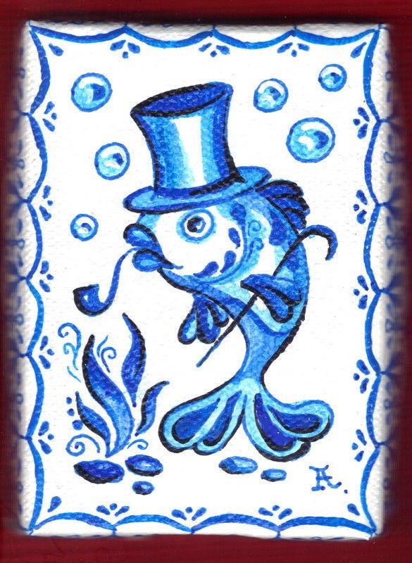 "Akimova: SMOKING FISH  ,ACEO, blue, cartoon, fantasy, 2.5""x3.5"""
