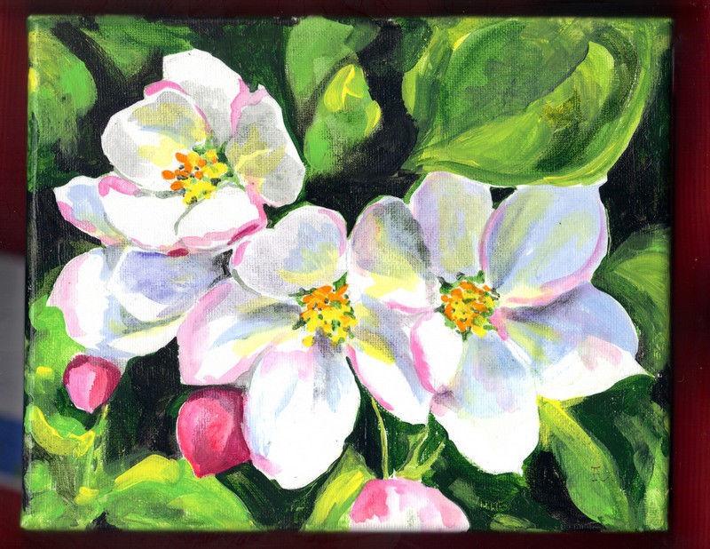 "Akimova: APPLE BLOSSOM TREE, acrylic, 8""x10"", spring, garden, pink"