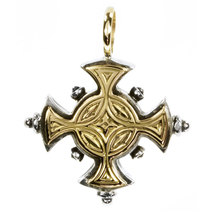 Gerochristo 5017 - Solid 18K Gold & Sterling Silver Byzantine Cross Pen... - $360.00