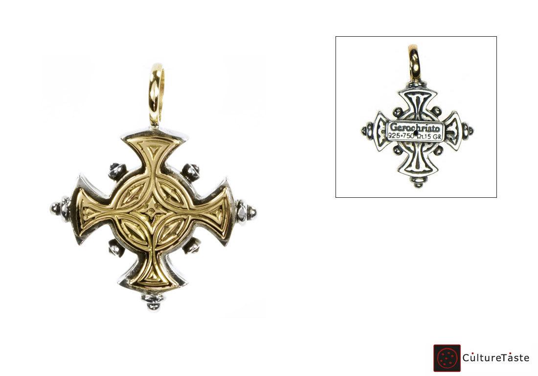 Gerochristo 5017 - Solid 18K Gold & Sterling Silver Byzantine Cross Pendant